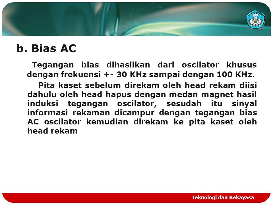 b. Bias AC Tegangan bias dihasilkan dari oscilator khusus dengan frekuensi +- 30 KHz sampai dengan 100 KHz. Pita kaset sebelum direkam oleh head rekam