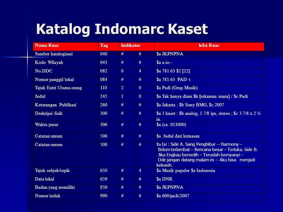 Katalog Indomarc Kaset Nama RuasTagIndikatorloIsi Ruas Sumber katalogisasi040##$a JKPNPNA Kode Wilayah043##$a a-io-- No.DDC08204$a 781.63 $2 [22] Nomo