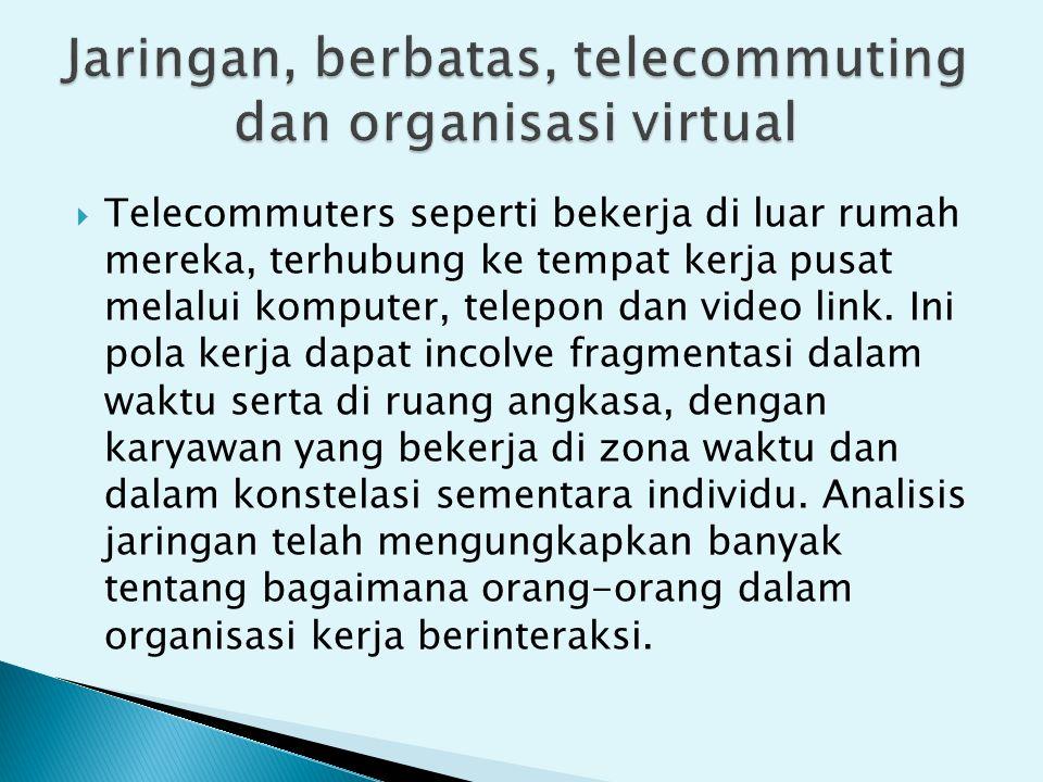  Telecommuters seperti bekerja di luar rumah mereka, terhubung ke tempat kerja pusat melalui komputer, telepon dan video link.
