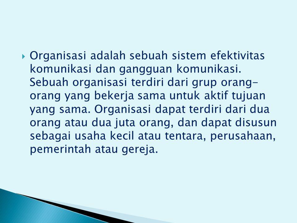  Organisasi adalah sebuah sistem efektivitas komunikasi dan gangguan komunikasi.