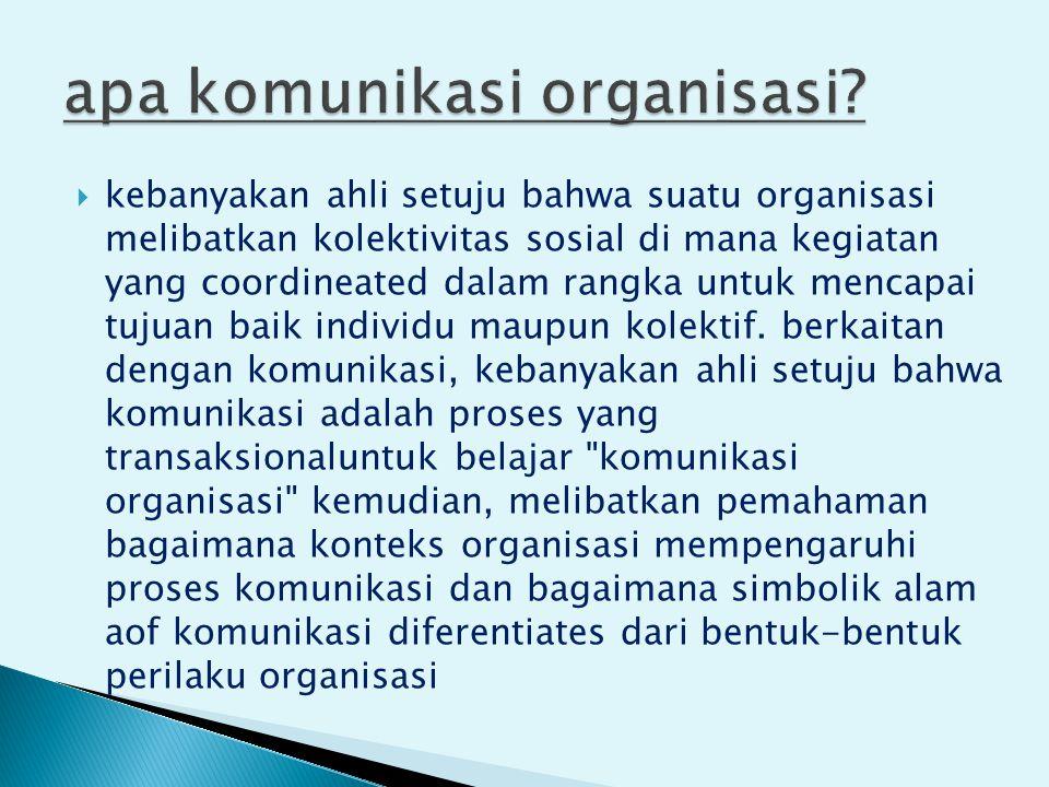  kebanyakan ahli setuju bahwa suatu organisasi melibatkan kolektivitas sosial di mana kegiatan yang coordineated dalam rangka untuk mencapai tujuan baik individu maupun kolektif.