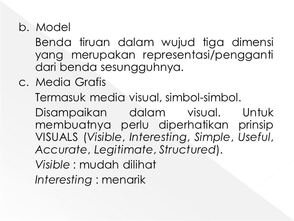 b. Model Benda tiruan dalam wujud tiga dimensi yang merupakan representasi/pengganti dari benda sesungguhnya. c. Media Grafis Termasuk media visual, s