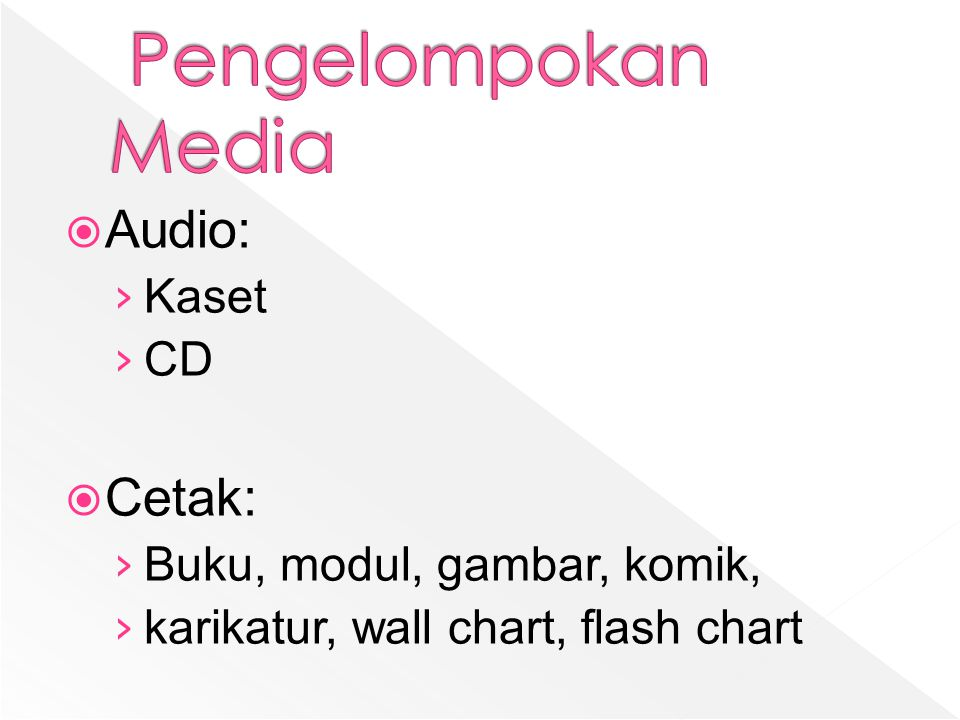  Audio: › Kaset › CD  Cetak: › Buku, modul, gambar, komik, › karikatur, wall chart, flash chart