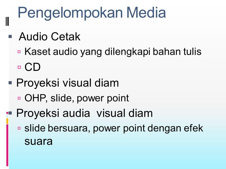 Pengelompokan Media  Audio Cetak  Kaset audio yang dilengkapi bahan tulis  CD  Proyeksi visual diam  OHP, slide, power point  Proyeksi audia vis