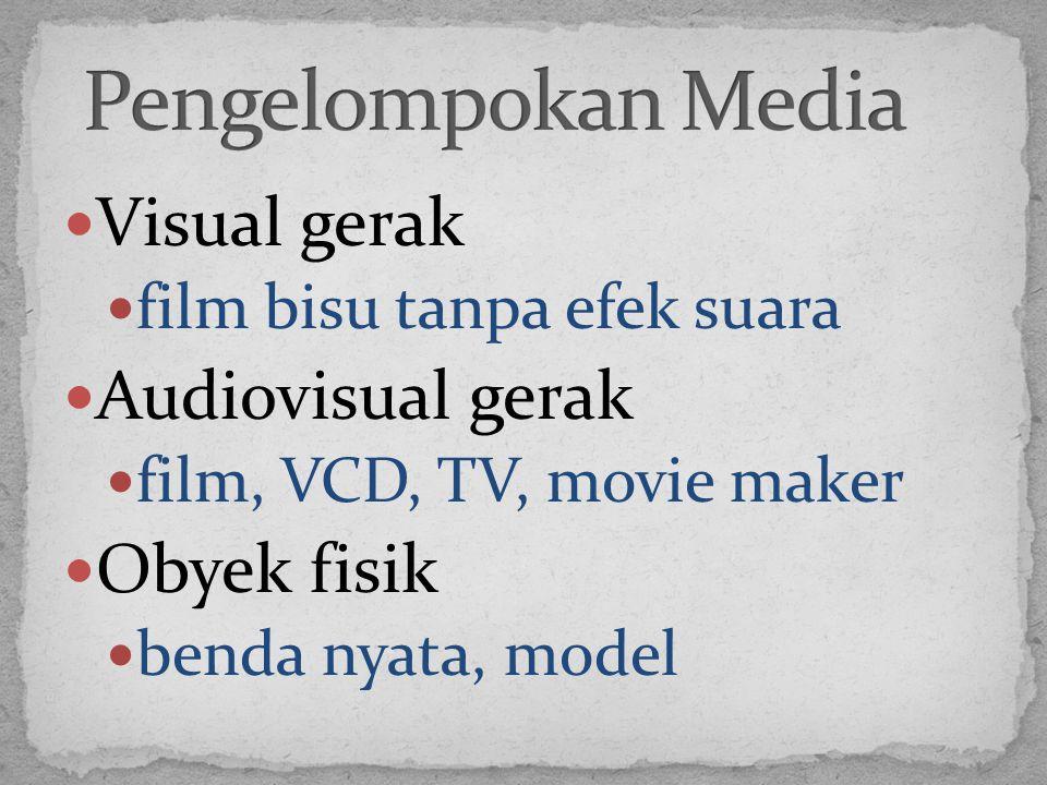 Visual gerak film bisu tanpa efek suara Audiovisual gerak film, VCD, TV, movie maker Obyek fisik benda nyata, model