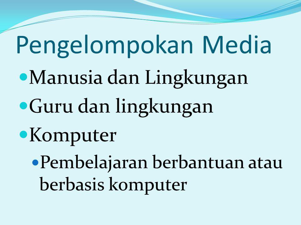 Pengelompokan Media Manusia dan Lingkungan Guru dan lingkungan Komputer Pembelajaran berbantuan atau berbasis komputer