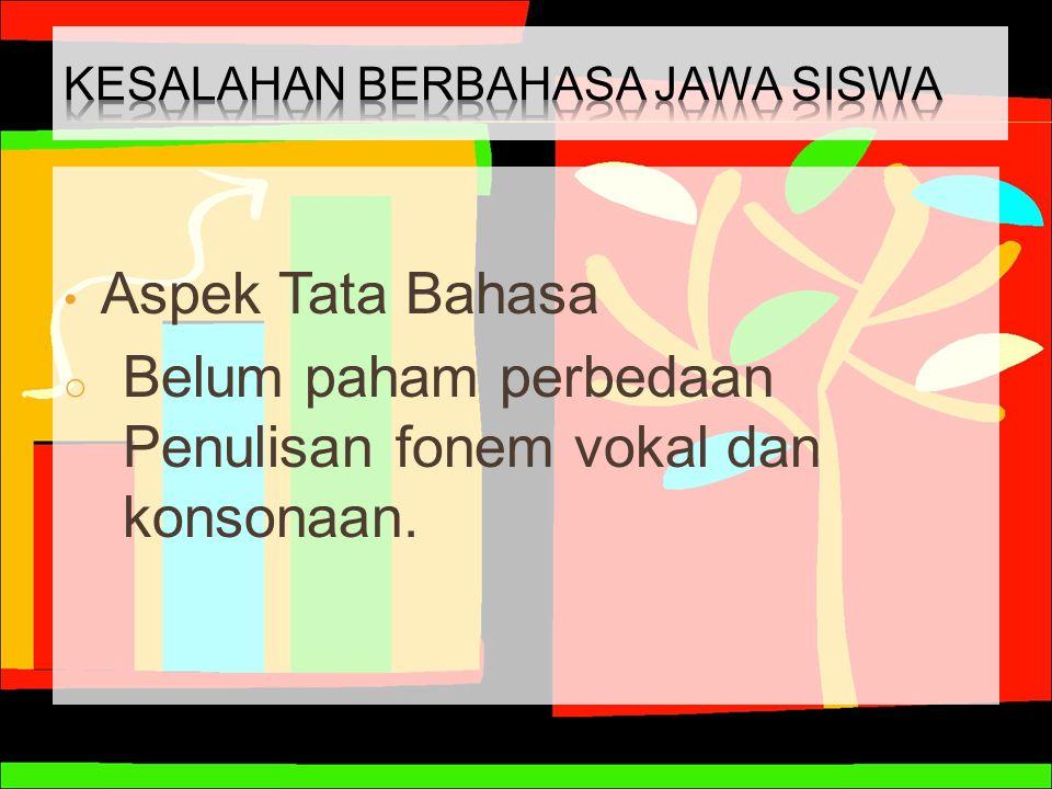 Aspek Tata Bahasa o Belum paham perbedaan Penulisan fonem vokal dan konsonaan.
