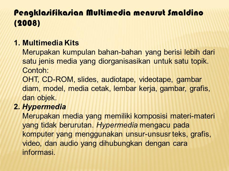 Pengklasifikasian Multimedia menurut Smaldino (2008) 1.Multimedia Kits Merupakan kumpulan bahan-bahan yang berisi lebih dari satu jenis media yang dio