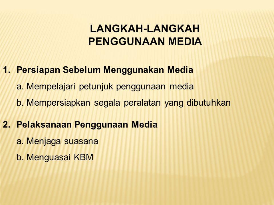 LANGKAH-LANGKAH PENGGUNAAN MEDIA 1.Persiapan Sebelum Menggunakan Media a. Mempelajari petunjuk penggunaan media b. Mempersiapkan segala peralatan yang