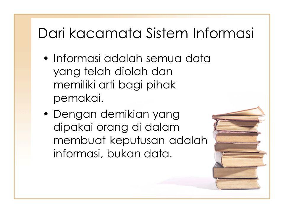 Dari kacamata Sistem Informasi Informasi adalah semua data yang telah diolah dan memiliki arti bagi pihak pemakai. Dengan demikian yang dipakai orang