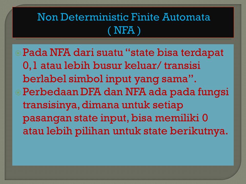 """ Pada NFA dari suatu """"state bisa terdapat 0,1 atau lebih busur keluar/ transisi berlabel simbol input yang sama"""".  Perbedaan DFA dan NFA ada pada fu"""