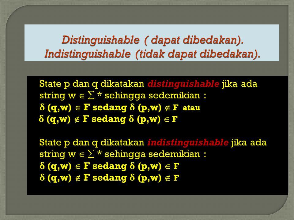 State p dan q dikatakan distinguishable jika ada string w   * sehingga sedemikian : δ (q,w)  F sedang δ (p,w)  F atau δ (q,w)  F sedang δ (p,w) 