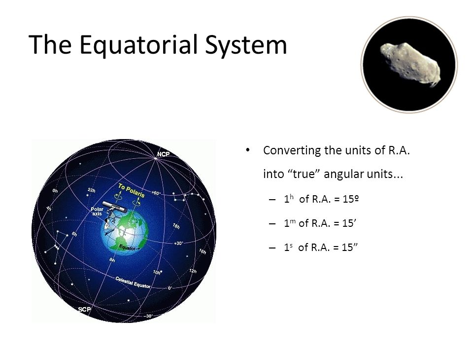 The Equatorial System Right Ascension is not measured in degrees, but in units of time! – 360º = 24 h of R.A. – 1 h = 60 m of R.A. – 1 m = 60 s of R.A