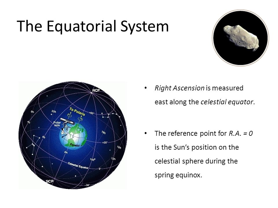 The Equatorial System Declination is measured north or south from the celestial equator, toward the poles.