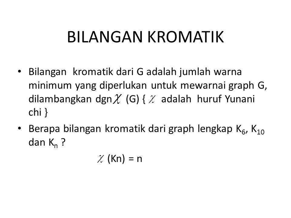 BILANGAN KROMATIK Bilangan kromatik dari G adalah jumlah warna minimum yang diperlukan untuk mewarnai graph G, dilambangkan dgn (G) { adalah huruf Yun