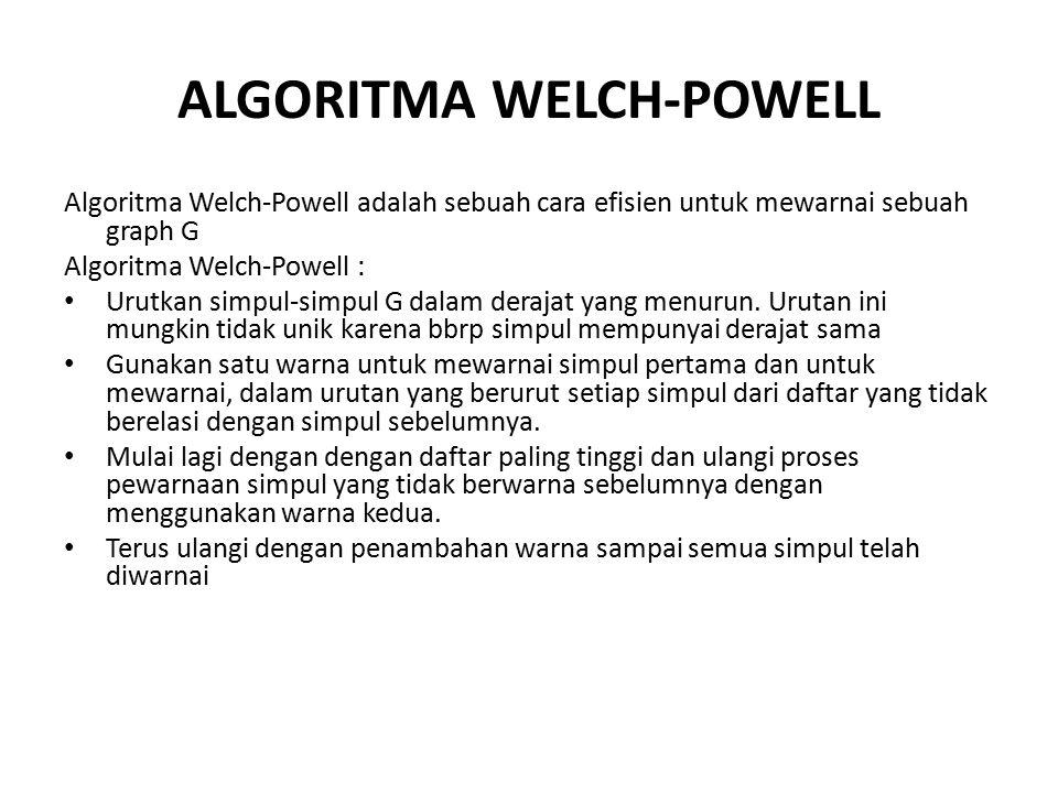 ALGORITMA WELCH-POWELL Algoritma Welch-Powell adalah sebuah cara efisien untuk mewarnai sebuah graph G Algoritma Welch-Powell : Urutkan simpul-simpul