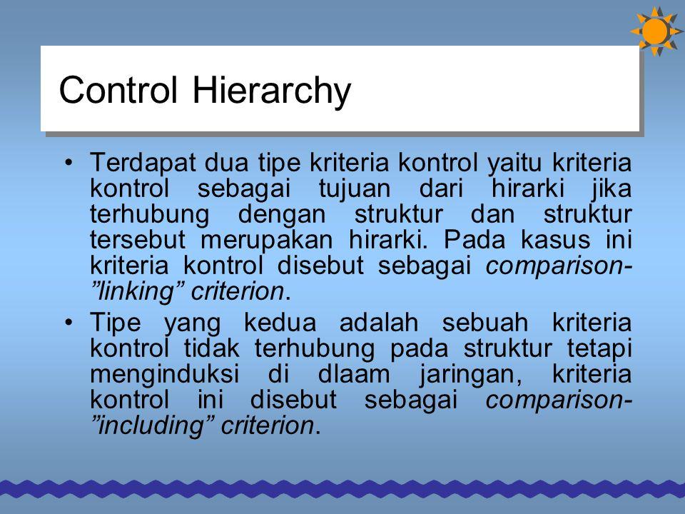 Control Hierarchy Terdapat dua tipe kriteria kontrol yaitu kriteria kontrol sebagai tujuan dari hirarki jika terhubung dengan struktur dan struktur tersebut merupakan hirarki.