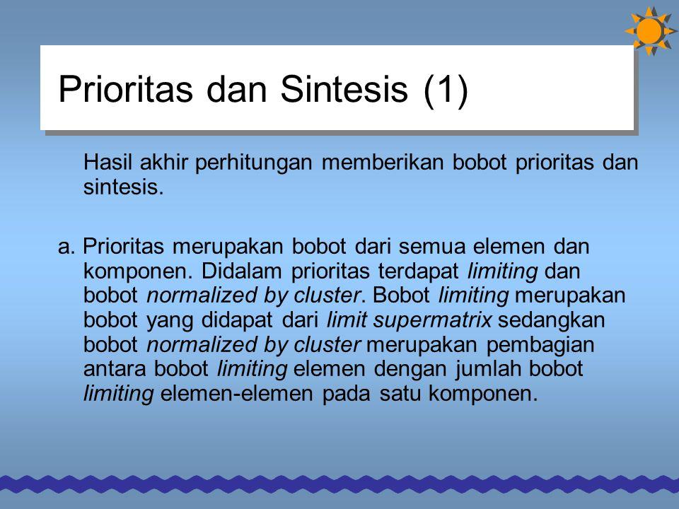 Prioritas dan Sintesis (1) Hasil akhir perhitungan memberikan bobot prioritas dan sintesis.