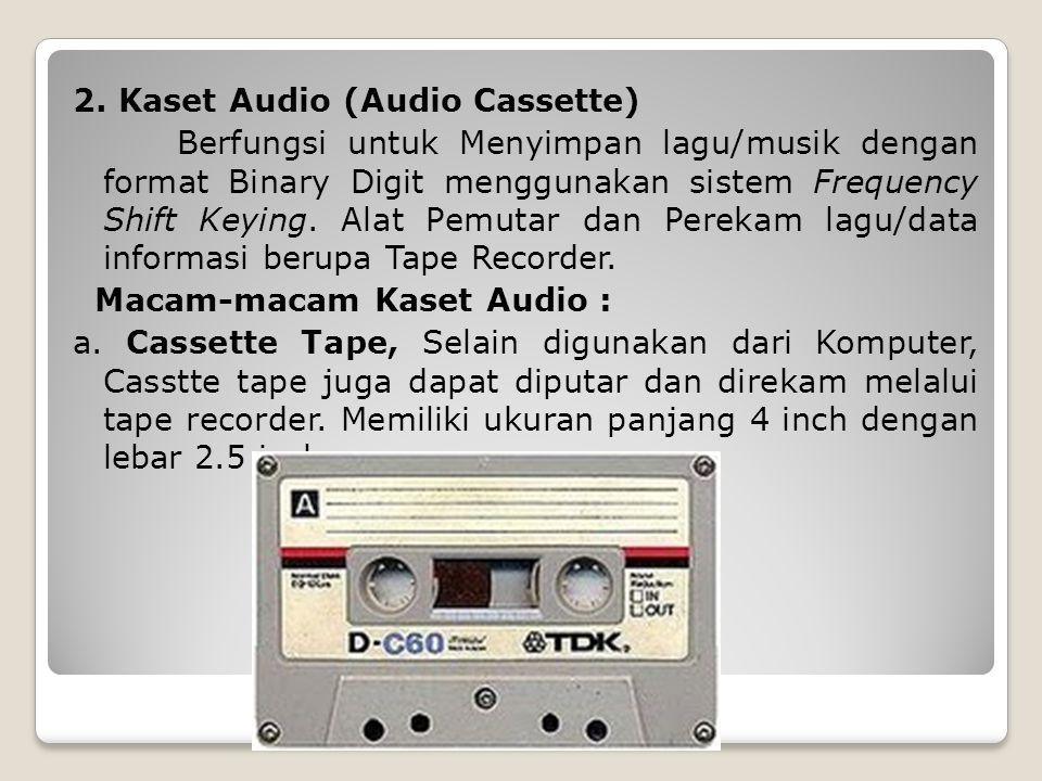 2. Kaset Audio (Audio Cassette) Berfungsi untuk Menyimpan lagu/musik dengan format Binary Digit menggunakan sistem Frequency Shift Keying. Alat Pemuta