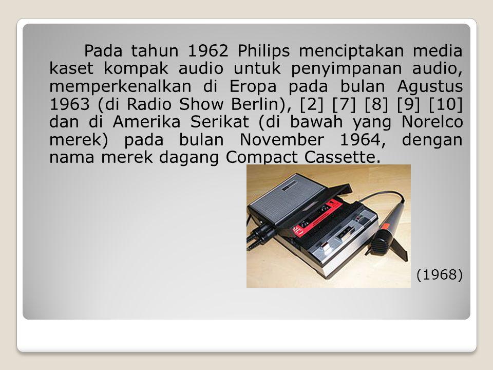 Pada tahun 1962 Philips menciptakan media kaset kompak audio untuk penyimpanan audio, memperkenalkan di Eropa pada bulan Agustus 1963 (di Radio Show B