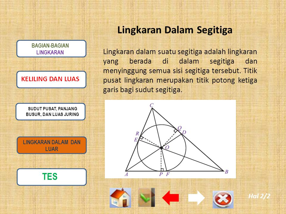 Lingkaran Dalam Segitiga Lingkaran dalam suatu segitiga adalah lingkaran yang berada di dalam segitiga dan menyinggung semua sisi segitiga tersebut.