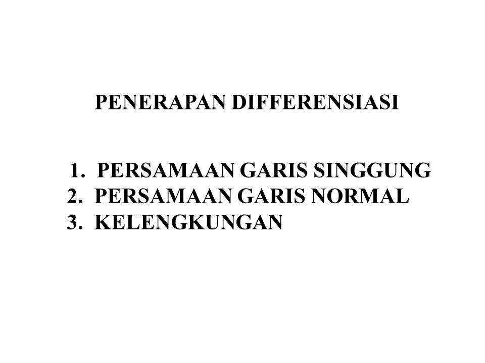 PENERAPAN DIFFERENSIASI 1.PERSAMAAN GARIS SINGGUNG 2.PERSAMAAN GARIS NORMAL 3.KELENGKUNGAN