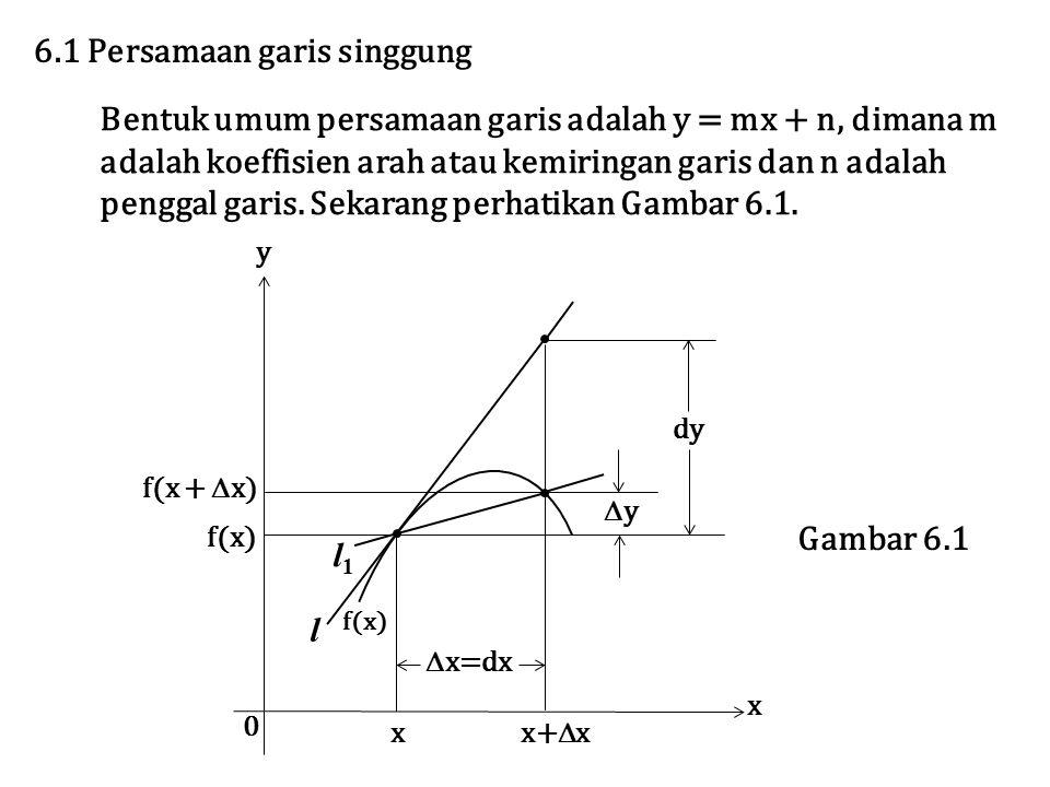 6.1 Persamaan garis singgung Bentuk umum persamaan garis adalah y = mx + n, dimana m adalah koeffisien arah atau kemiringan garis dan n adalah penggal