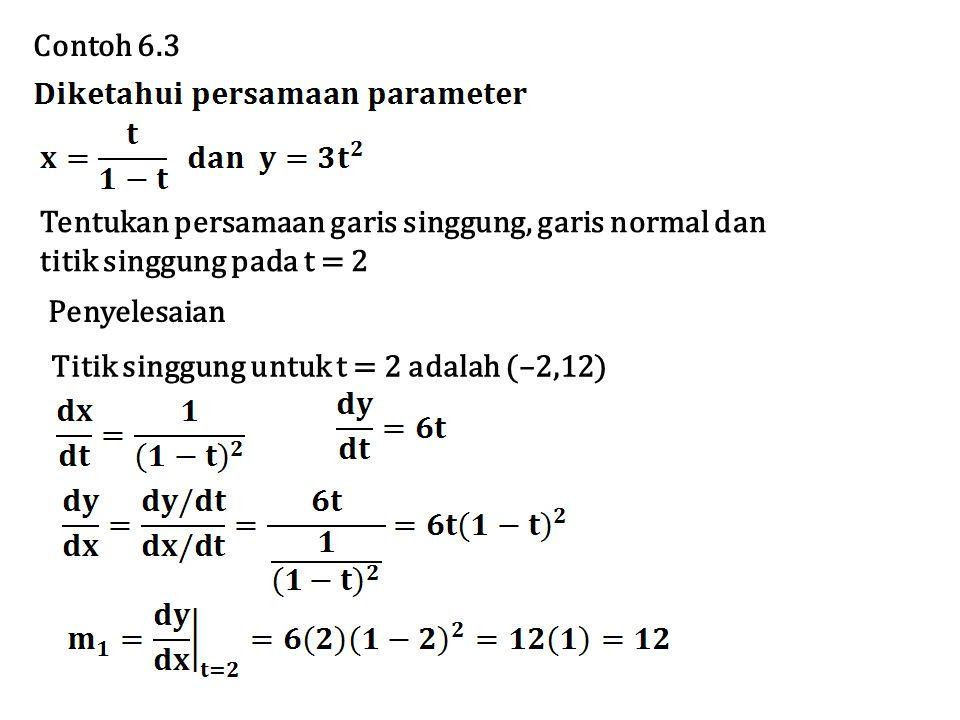 Persamaan garis singgung y = 12x + 36 Besarnya kelengkungan suatu kurva di titik tertentu dipengaruhi seberapa cepatnya perubahan arah dari kurva di titik tersebut.