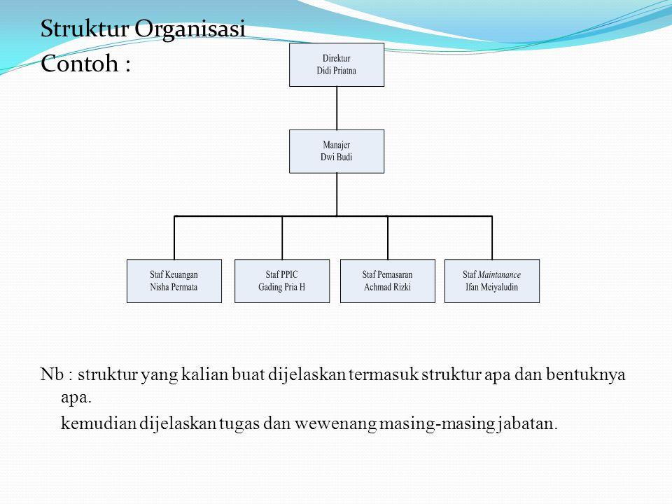 Struktur Organisasi Contoh : Nb : struktur yang kalian buat dijelaskan termasuk struktur apa dan bentuknya apa. kemudian dijelaskan tugas dan wewenang