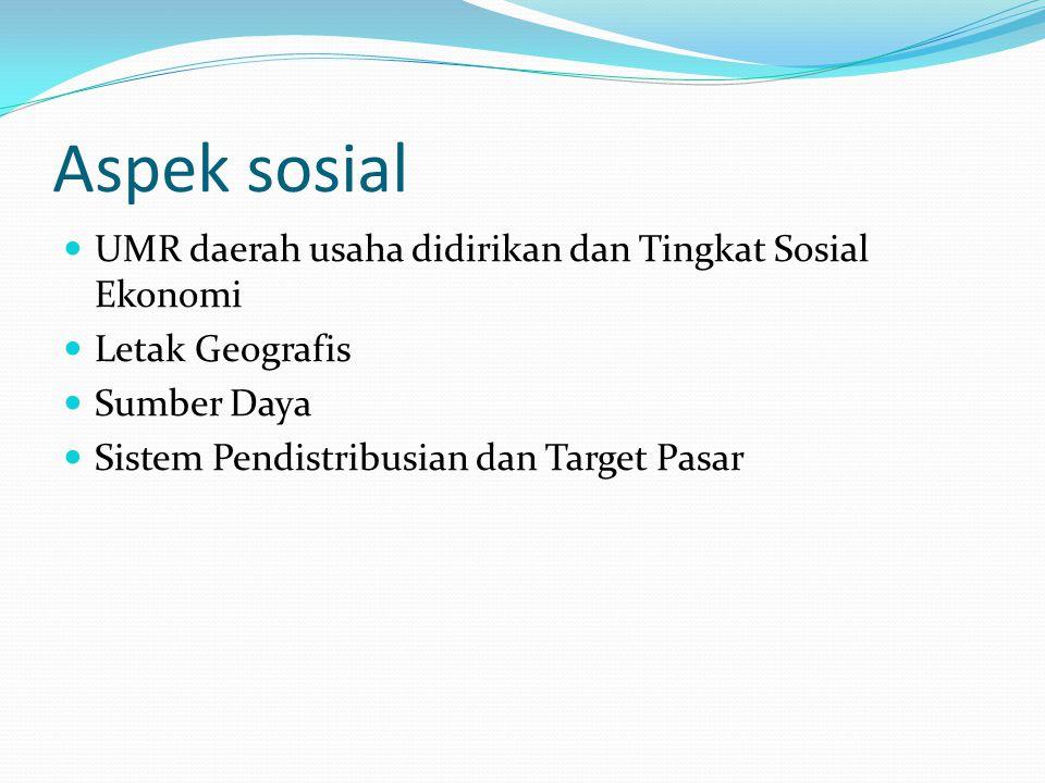 Aspek sosial UMR daerah usaha didirikan dan Tingkat Sosial Ekonomi Letak Geografis Sumber Daya Sistem Pendistribusian dan Target Pasar