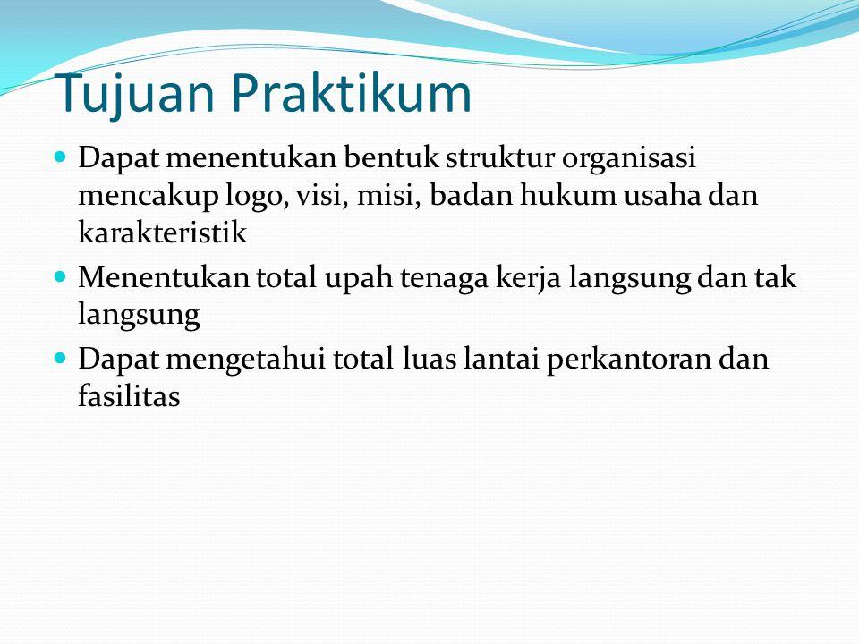 Tujuan Praktikum Dapat menentukan bentuk struktur organisasi mencakup logo, visi, misi, badan hukum usaha dan karakteristik Menentukan total upah tena