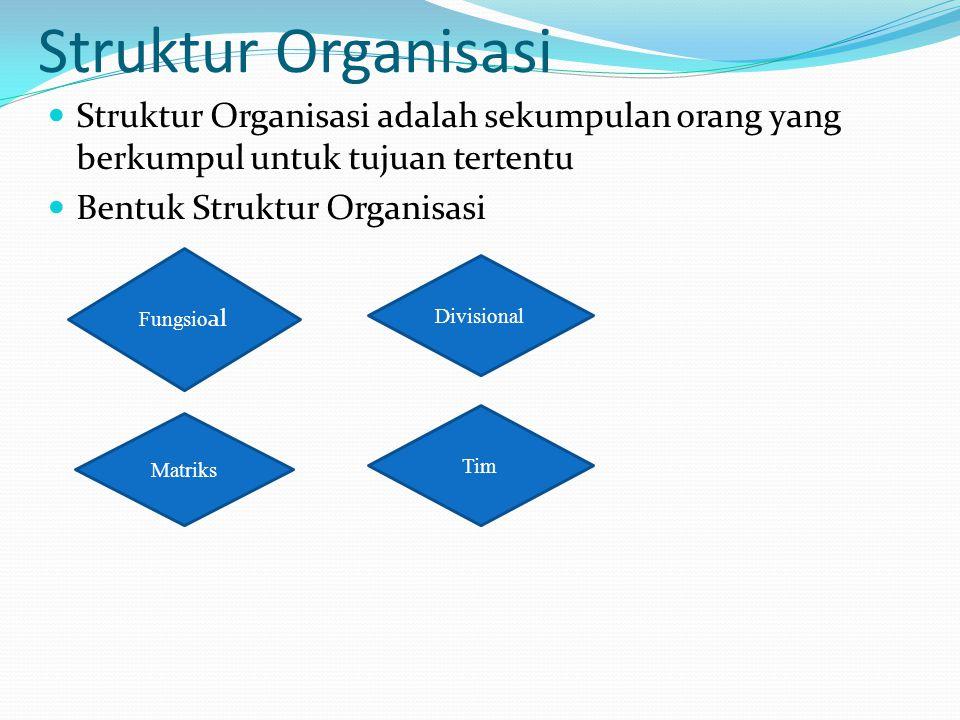 Struktur Organisasi Struktur Organisasi adalah sekumpulan orang yang berkumpul untuk tujuan tertentu Bentuk Struktur Organisasi Fungsio al Divisional