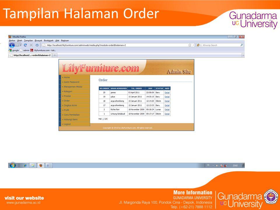 Tampilan Halaman Order