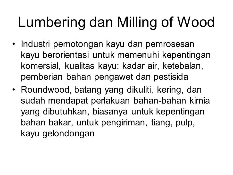 Lumbering dan Milling of Wood Industri pemotongan kayu dan pemrosesan kayu berorientasi untuk memenuhi kepentingan komersial, kualitas kayu: kadar air