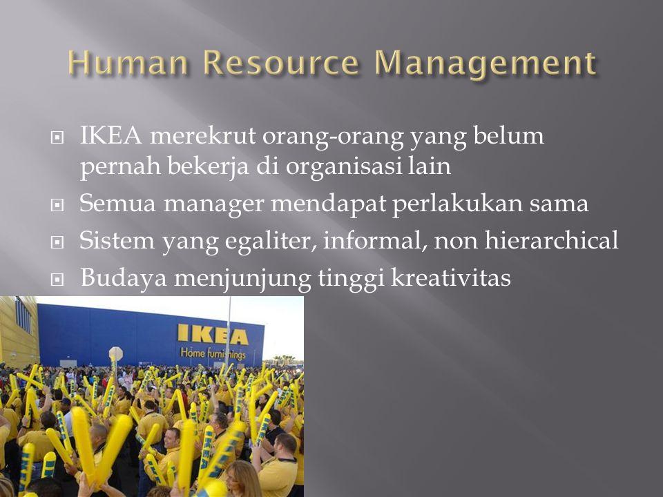  IKEA merekrut orang-orang yang belum pernah bekerja di organisasi lain  Semua manager mendapat perlakukan sama  Sistem yang egaliter, informal, non hierarchical  Budaya menjunjung tinggi kreativitas