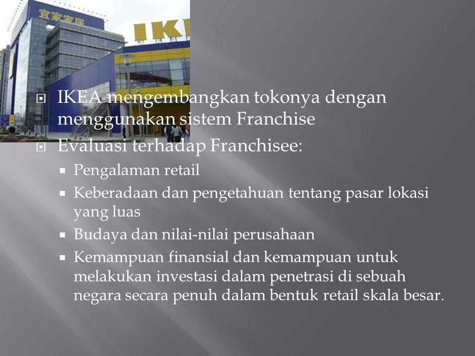  IKEA mengembangkan tokonya dengan menggunakan sistem Franchise  Evaluasi terhadap Franchisee:  Pengalaman retail  Keberadaan dan pengetahuan tentang pasar lokasi yang luas  Budaya dan nilai-nilai perusahaan  Kemampuan finansial dan kemampuan untuk melakukan investasi dalam penetrasi di sebuah negara secara penuh dalam bentuk retail skala besar.