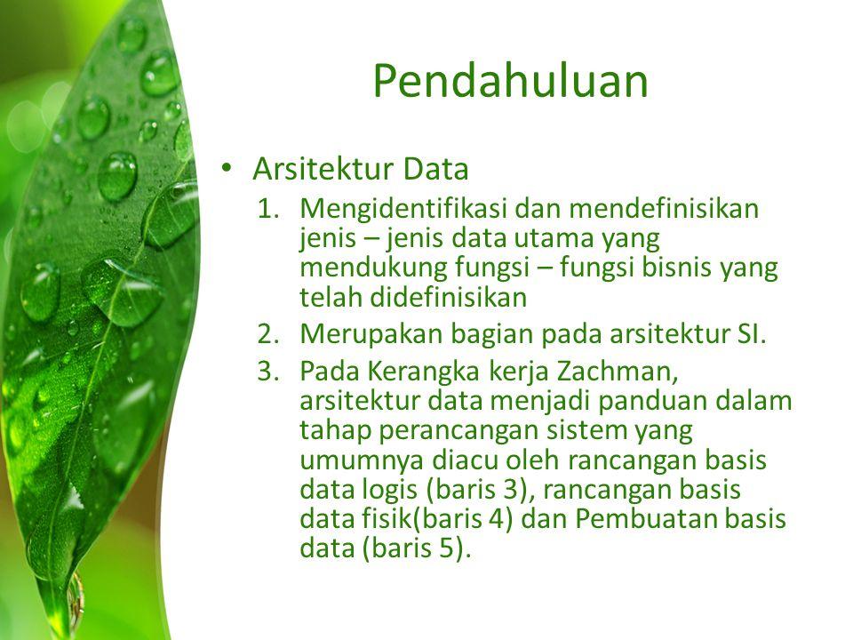 Pendahuluan Arsitektur Data 1.Mengidentifikasi dan mendefinisikan jenis – jenis data utama yang mendukung fungsi – fungsi bisnis yang telah didefinisi