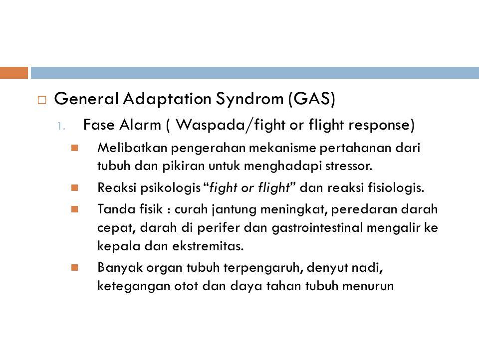  General Adaptation Syndrom (GAS) 1. Fase Alarm ( Waspada/fight or flight response) Melibatkan pengerahan mekanisme pertahanan dari tubuh dan pikiran