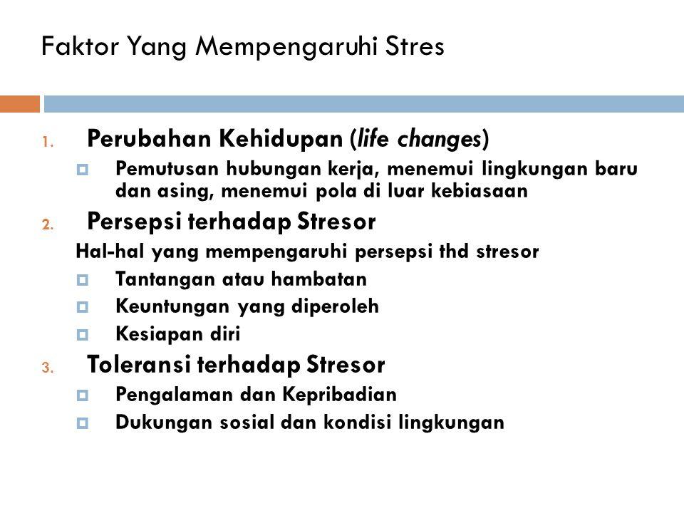 Faktor Yang Mempengaruhi Stres 1. Perubahan Kehidupan (life changes)  Pemutusan hubungan kerja, menemui lingkungan baru dan asing, menemui pola di lu