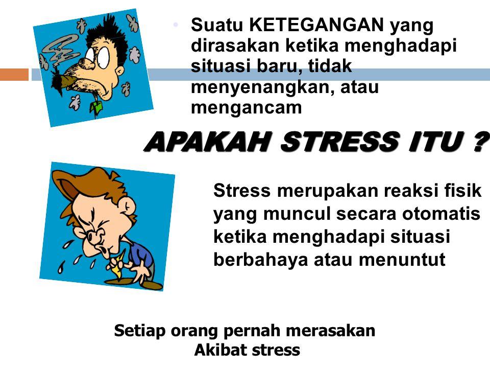 Suatu KETEGANGAN yang dirasakan ketika menghadapi situasi baru, tidak menyenangkan, atau mengancam APAKAH STRESS ITU ? Stress merupakan reaksi fisik y