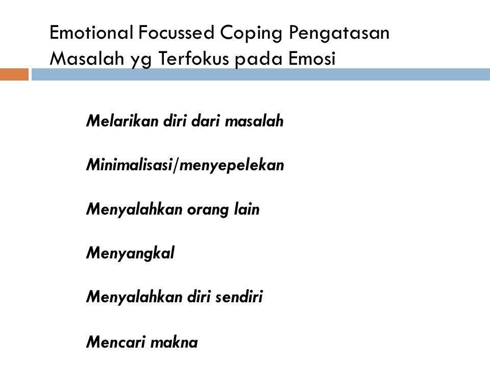Emotional Focussed Coping Pengatasan Masalah yg Terfokus pada Emosi Melarikan diri dari masalah 1. Minimalisasi/menyepelekan Menyalahkan orang lain Me