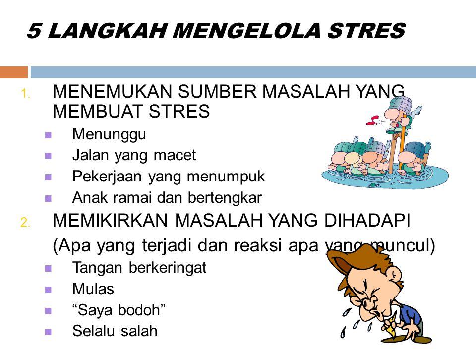5 LANGKAH MENGELOLA STRES 1. MENEMUKAN SUMBER MASALAH YANG MEMBUAT STRES Menunggu Jalan yang macet Pekerjaan yang menumpuk Anak ramai dan bertengkar 2