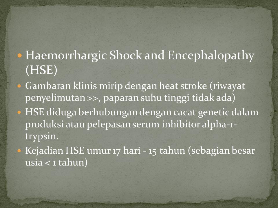 Haemorrhargic Shock and Encephalopathy (HSE) Gambaran klinis mirip dengan heat stroke (riwayat penyelimutan >>, paparan suhu tinggi tidak ada) HSE did