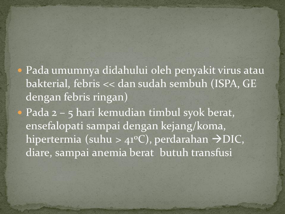 Pada umumnya didahului oleh penyakit virus atau bakterial, febris << dan sudah sembuh (ISPA, GE dengan febris ringan) Pada 2 – 5 hari kemudian timbul