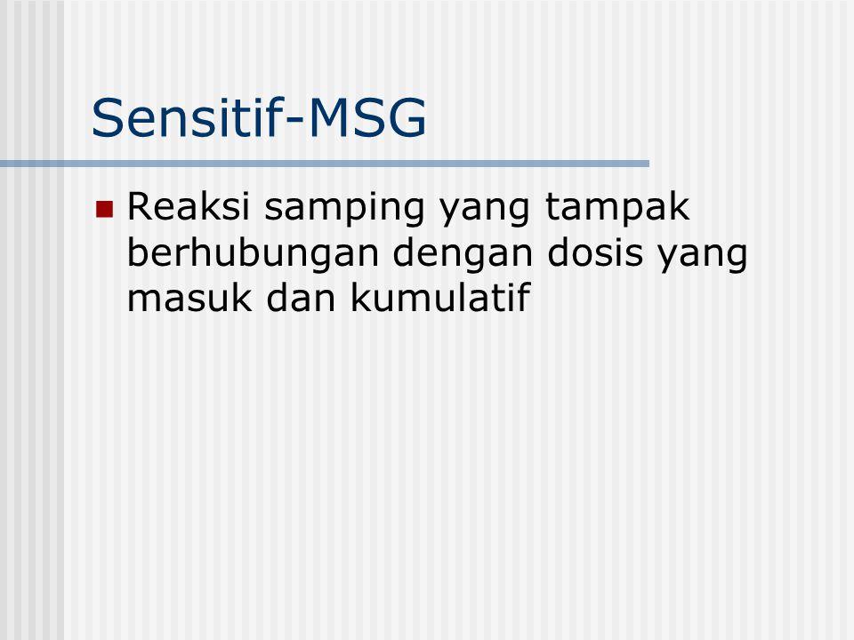 Sensitif-MSG Reaksi samping yang tampak berhubungan dengan dosis yang masuk dan kumulatif