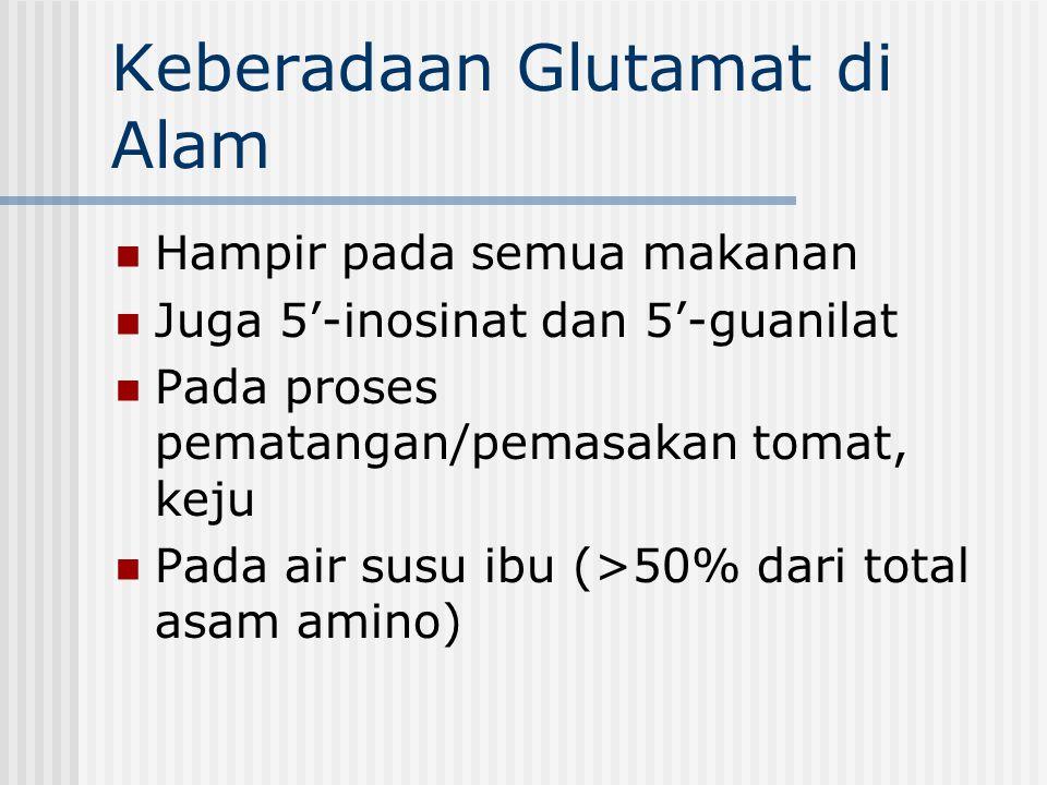 Dua bentuk glutamat : -terikat sebagai bagian dari protein - bebas dalam tumbuhan dan hewan yang berperan sebagai penyedap makanan, contoh dalam keju, tomat masak