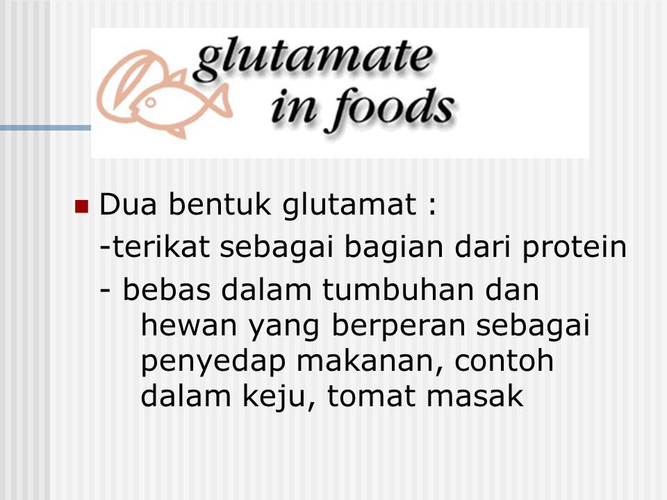Dua bentuk glutamat : -terikat sebagai bagian dari protein - bebas dalam tumbuhan dan hewan yang berperan sebagai penyedap makanan, contoh dalam keju,