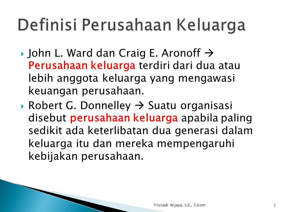  John L. Ward dan Craig E. Aronoff  Perusahaan keluarga terdiri dari dua atau lebih anggota keluarga yang mengawasi keuangan perusahaan.  Robert G.
