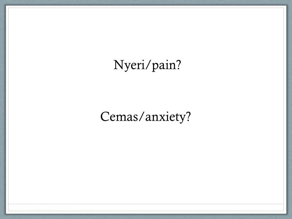 Nyeri/pain? Cemas/anxiety?