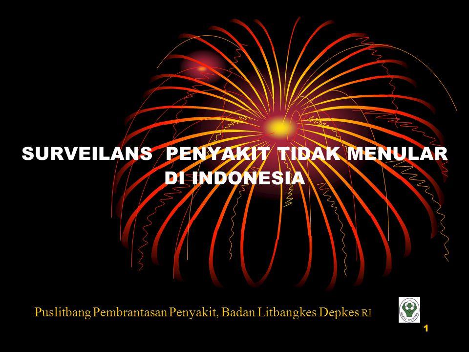 1 SURVEILANS PENYAKIT TIDAK MENULAR DI INDONESIA Puslitbang Pembrantasan Penyakit, Badan Litbangkes Depkes RI